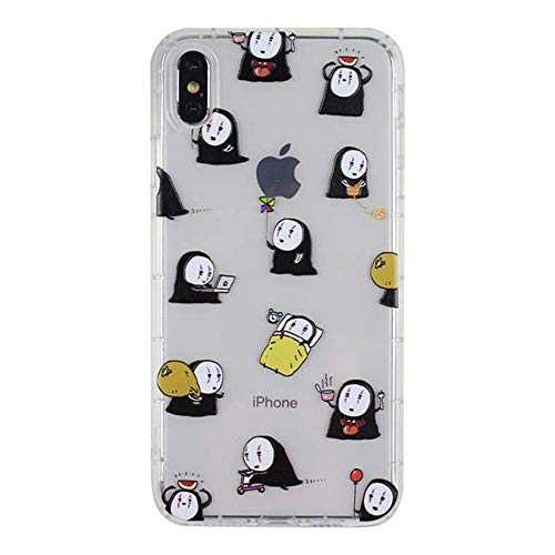 for iPhone Xs Max Case Cover, Japan Anime Cartoon Spirited Away No Face Man Case Shockproof Air Cushion Silicone Soft Phone Case Back Cover for iPhone Xs Max XR 6S 7 8 Plus (for iPhone 7 Plus/8 Plus)