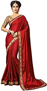 C&H Women's Paper Silk Embroidery Saree with Blouse Piece (Red)