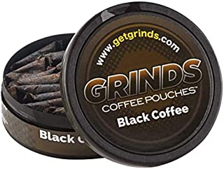 Grinds Coffee Pouches   3 Cans of Black Coffee   Tobacco Free, Nicotine Free Healthy Alternative   18 Pouches Per Can   1 ...