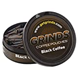 Grinds Coffee Pouches | 6 Cans of Black Coffee | Tobacco Free, Nicotine Free Healthy Alternative | 18 Pouches Per Can | 1 Pouch eq. 1/4 Cup of Coffee (Black Coffee)