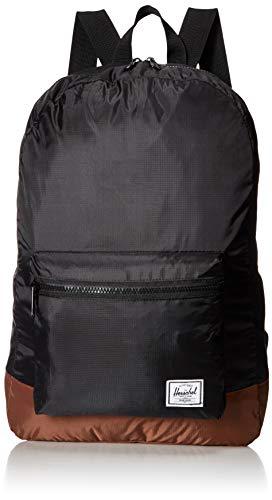 Herschel Unisex-Erwachsene Packable Daypack lässiger Tagesrucksack, schwarz/Sattel braun, Einheitsgröße