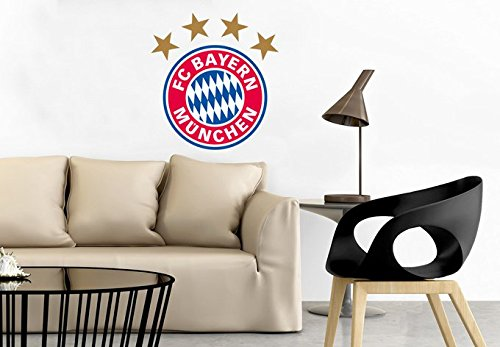 FC Bayern München Fanartikel Kinder Wandtattoo Fussball Wandposter Fußball Klebebilder für die Wand Logo - 30x32 cm