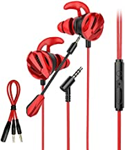Pro Stereo Wired Gaming Earphones with Mic, Gaming Earbuds with Dual Microphone, in-Ear Gaming Headset PS4 PC Xbox One, Gaming Headphones for iPhone with 3.5mm Jack, K27-Red