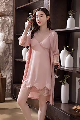Lente en zomer retro trainingspak met lange mouwen mevrouw pyjama Twee sets ijszijde Echte zijde L roze