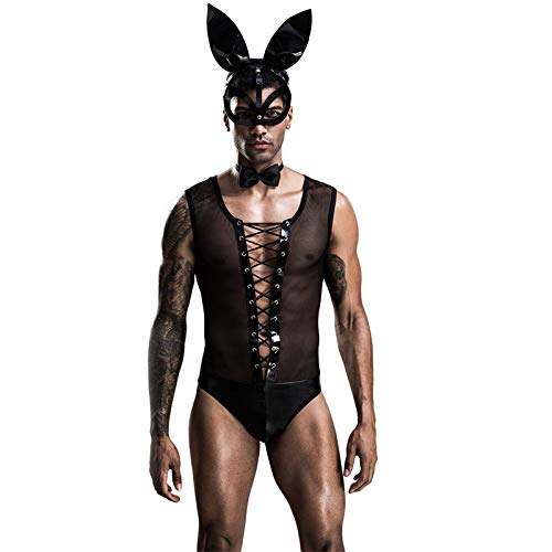 Men's Coaplay Costume, Mens Sexy Underwear Waiter Uniform Collared Bow Tie Bodysuit Thong Butler Fun Outfit Rabbit Ears