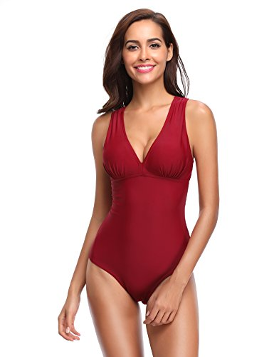 LALAVAVA Women's Sexy One Piece Swimsuit Ruched Backless V Neck Monokini Bathing Suit (Red, L)