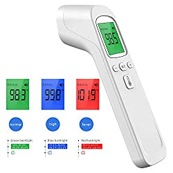 Forehead Thermometer Non-Contact Infrared Digital Thermometer, Ear Thermometer for Adults and Kids with Fever Alarm, Memory Function, LCD Display