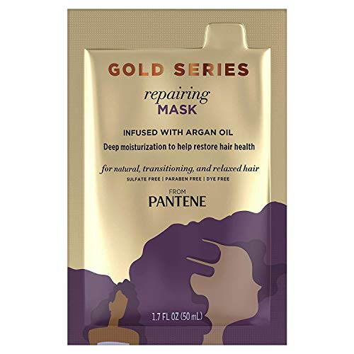 Gold Series, from Pantene Pro-V, Repairing Mask Treatment, with Argan Oil, Moisturize and Restore, 1.7 fl oz, 10 Count