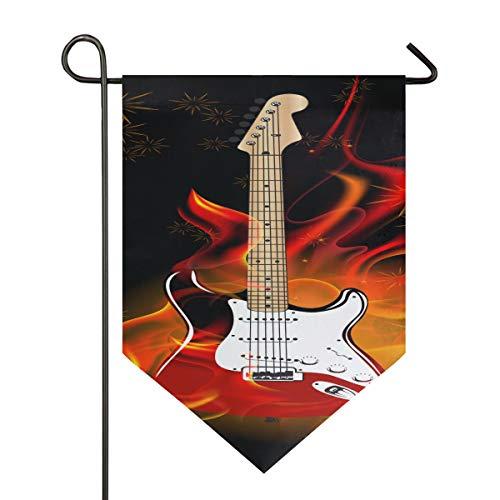YXUAOQ Dekor Flaggen für außerhalb brennende Gitarre Camp Garden Flagge doppelseitig 12 x 18,5 Zoll / 28 x 40 Zoll Home Yard Decor Banner im Freien