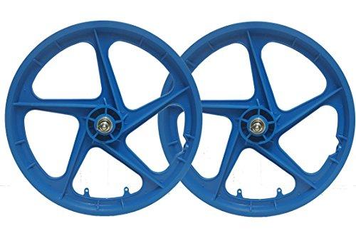 TRINITY Coppia di Cerchi aerodinamici in magnesio, da 50,8 cm, a 5 Raggi, Anteriore e Posteriore, per Bici BMX, Stile retrò, Colore: Azzurro