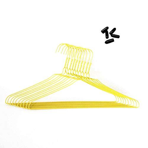 先端保護キャップ付 針金ハンガー イエロー 40cm 100本組 (キャップ黒付)