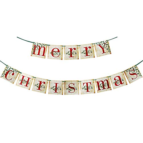 Merry Christmas Banner Christmas Garland Porch Door Xmas Hanging Paper Decorations for Fireplace Wall Mantle