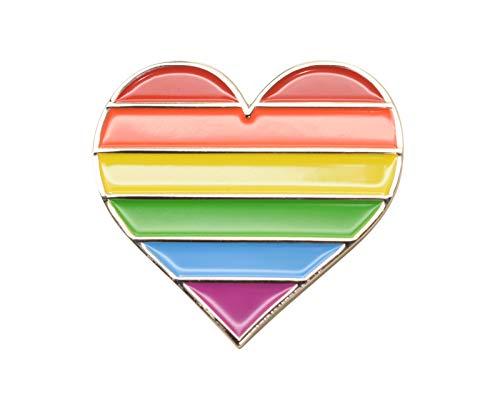 LGBT Gay Pride Emaille-Metall-Anstecker, Regenbogen-Liebe, Herz-Flagge, Revers-Anstecker Gr. Einheitsgröße, herz
