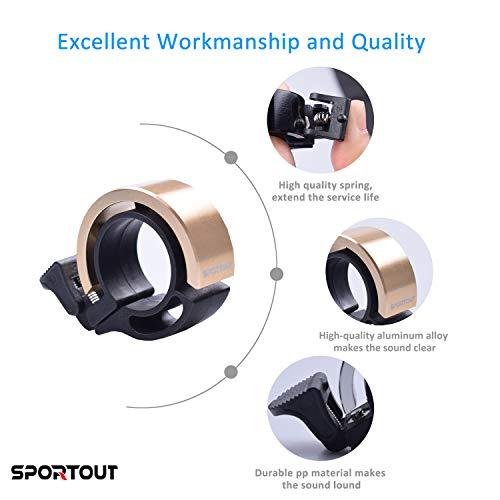 Sportout Aluminiumlegierung Innovative Fahrradklingel Fahrrad Ring mit Lauten Klaren Klaren Kla, für Lenker von 22,2 bis 24,8(Schwarz) - 5