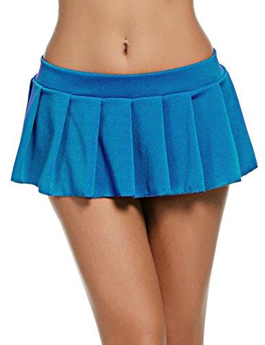 Avidlove Avidlove Mini Rock Schulmädchen Skirt Damen Kurz Minirock Röcke Frauen Sexy Dessous Solid gefaltet Nachtwäsche Reizvolle, M, Blau