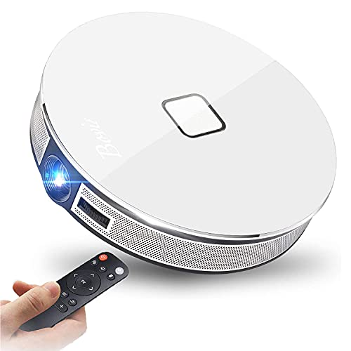 BOVIS 300'' Display DLP Portable Movie 3D Full Projector Home Theater 1080P 4K Support,500 ANSI Lumen,Screen Zoom,Side/Inverted Projection,360° Two Speaker,Movie TV Video Projector for Office Home