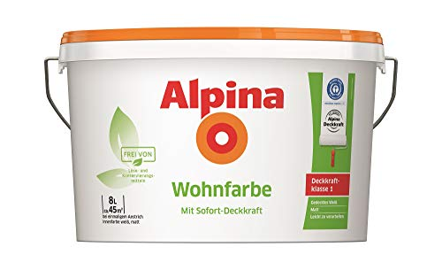 Alpina Wohnfarbe Wandfarbe Silikatfarbe hohe Deckkraft-Klasse 1, weiß matt, 8 Liter