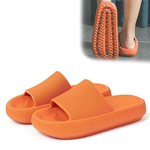Pillow Slides, Ultra Soft Slippers Extra Soft Cloud Shoes Anti-Slip, Super Soft Home Slippers, Women Bathroom Non-slip Thick Soled Shoes For Beach Outdoor (Orange, 40-41)