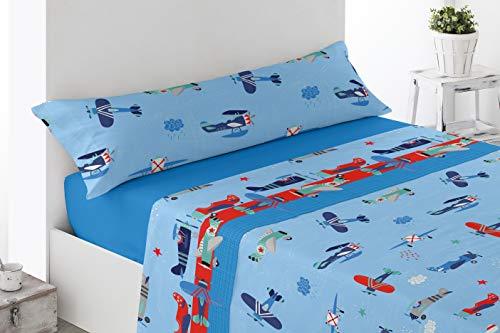 Energy Colors Textil - Hogar - Kid Bed - Juego Sábanas Cama 90 Térmicas Tipo Pirineo Polar 3 Piezas Invierno Otoño (Helicoptero)