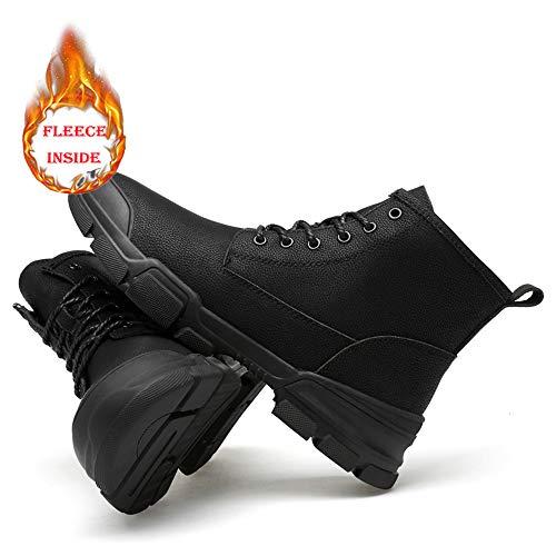 Casual Suede Shoe Herren Stiefeletten Casual British Style Einfache Gummisohle Schnürung Freizeit Sport Stiefel Herren Sneaker (Color : Black, Size : 41 EU)