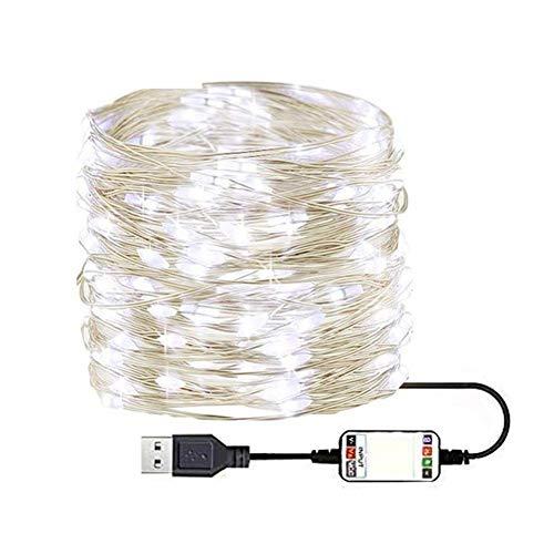 JBNS Schnur-Licht-USB-Lichterketten 200 App Fernbedienung Kupferdraht 20M Wasserdicht für für Heim Innen Schlafzimmer Party Hochzeit Tapestry Dekorationen