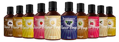 Foodtastic Flavor Drops Range Bundle mit 10 Sorten | Flavdrops Aroma Tropfen | Quark, Wasser oder Porridge kalorienfrei Süßen | vegan, glutenfrei und ohne Zucker