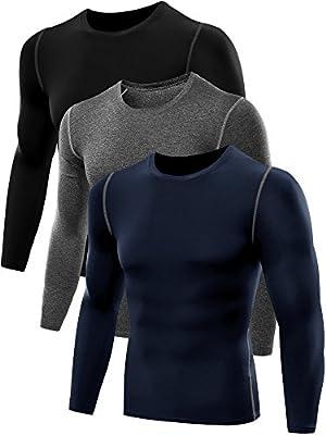 Neleus Men's 3 Pack Athletic Compression Long Sleeve Shirt,008,Black,Grey,Navy Blue,US S,EU M from