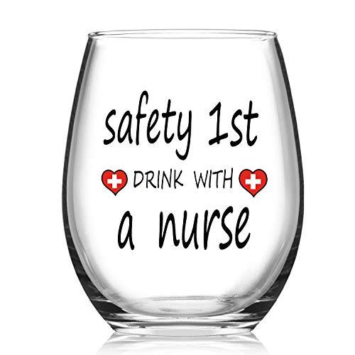 Safety 1st Drink With A Nurse Wine Glass, 15Oz Funny Stemless Wine Glass - Nurse Gifts for Women, Men, Nursing Students, Practitioner, Coworker, Nursing School
