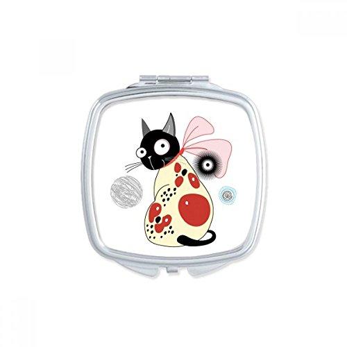 DIYthinker Protéger Pet Lover Cartoon Animaux Mignon Bow Chat carré Maquillage Compact Miroir de Poche Portable Mignon Petit Miroirs Main Cadeau Multicolore