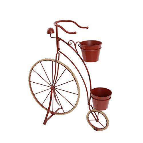 País Retro Creativo Hierro Forjado Forma de Bicicleta Jardinería Flores Adornos de decoración de Ventanas para el hogar (Color: Rojo)