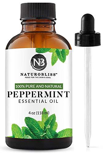 NaturoBliss Peppermint Essential Oil, 100% Pure and Natural, Premium Therapeutic Grade Peppermint Oil, Aromatherapy Essential Oil, 4 fl. oz. Essential Oil with Glass Dropper