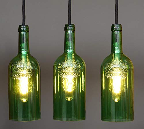 """Vintage Flaschenlampe Hängelampe """"tres/g"""""""