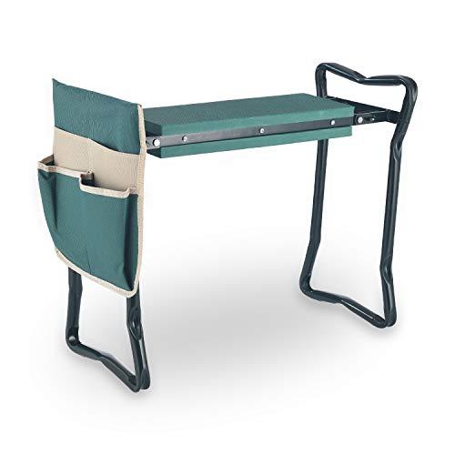 Zelphine Foldable Garden Kneeler and Seat with Side Bag Sturdy Portable Garden Kneeling Stool Bench with Soft EVA Foam Soft Kneeling pad for Gardening