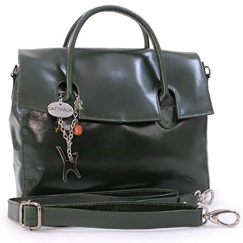 Catwalk Collection Handbags - Ladies' Vintage Leather Top Handle Cross...