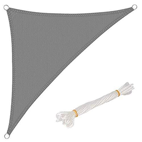 JIANFEI zonwering doek zonwering net outdoor reizen driehoek canvas strand tent slijtvast, 13 maten 2 kleuren ondersteuning maatwerk 7.0x7.0x7.0m Grijs