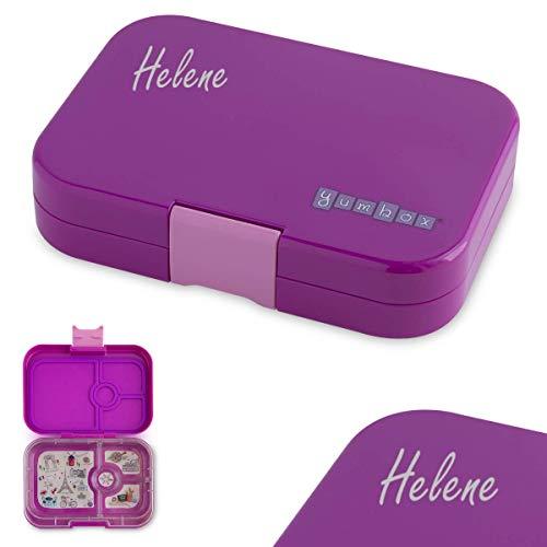 Anton & Sophie YUMBOX Panino (mit 4 Fächern) - PERSONALISIERBAR - Brotbox/Lunchbox/Bento Box mit Fester Fächer-Unterteilung - auslaufsichere Brotdose für Schule -ideal zur Einschulung (Bijoux Purple)