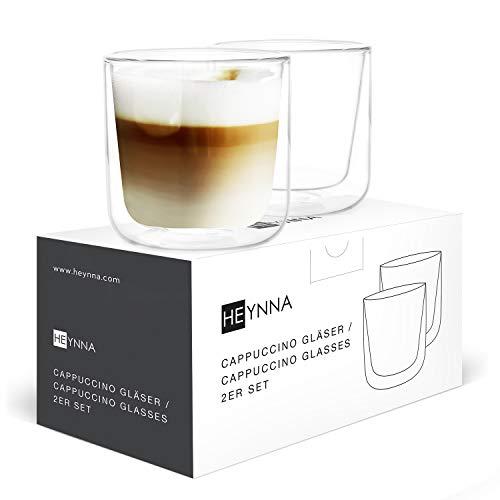 HEYNNA® Cappuccino Tassen 2 x 250ml doppelwandige Kaffeegläser aus Borosilikatglas / Cappuccino Gläser spülmaschinenfest
