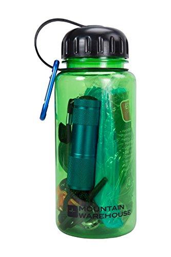 Mountain Warehouse Wanderset in der Flasche - Einmal-Poncho, Taschenmesser, Schere, Nagelfeile, Nagelknipser, Tuch, Kompass, Thermometer, Feuerzeug - Für Bergwandern Grün