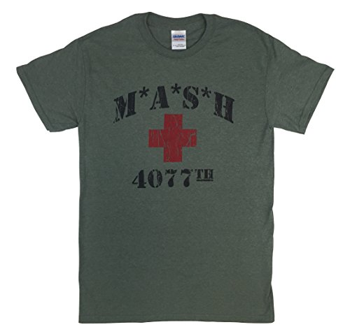MASH 4077th Heather Military Green T Shirt Red Cross MASH (Large)