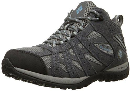 Columbia Women's Redmond MID Waterproof Hiking Boot, Light Grey, Sky Blue, 6.5 B US