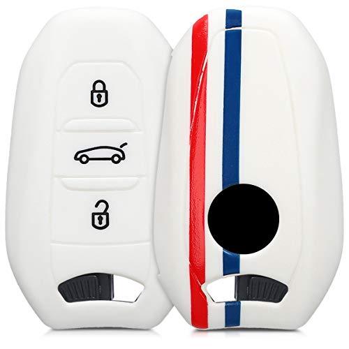 kwmobile Funda Compatible con Peugeot Citroen Llave de Coche Smartkey de 3 Botones (Solo Keyless Go) - Carcasa Protectora Suave de Silicona - Bandera Francesa