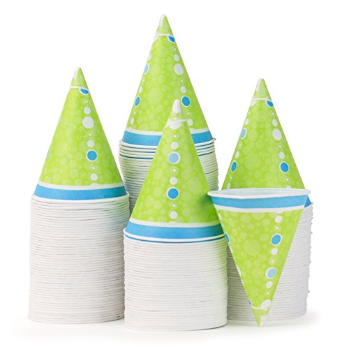 Hawaiian Shaved Ice 200-Count Durable Paper Snow Cone Cups, 6-Ounce, Green