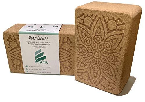 Món Bloque de Yoga de Corcho 100% Natural (Set de 2 Unidades) - Ladrillo Taco Yoga Block (Kit 2 Piezas) - Bloques Accesorios - También para Pilates y Fitness (Standard)