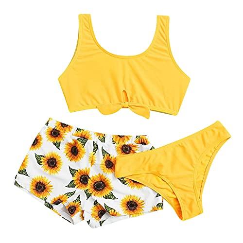 HUBA Kinder Mädchen Badeanzug Bikini Set, Bustier Shorts Badebekleidung, Einfarbig Sonnenblumendruck Sportlich Sommer Bademode Swimwear für Teenager Jugendliche(8-14 Jahre)