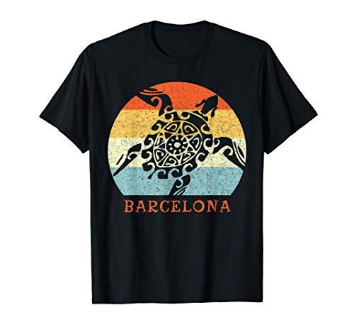Barcelona, Espana Vintage Retro Turtle European Vacation Camiseta