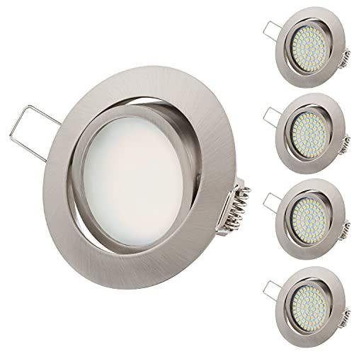 Ultra Piatto LED Faretto ad Incasso Tolles Design Bianco Caldo 3.5W 230V Orientabile Faretti ad Incasso Illuminazione ad Incasso (Ed. Acciaio Rotondo)