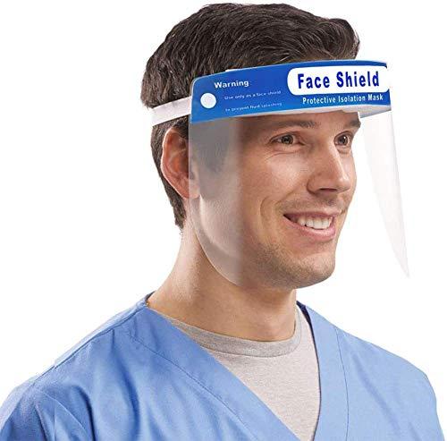 MEYLEE Face Shield Wiederverwendbare Vollgesichtsschutzvisier Augen und das Gesicht von Virus Gefahren im Zusammenhang mit Schutzmaßnahmen in klarem Film Gummiband und Komfort-Schwamm, 5 PCS