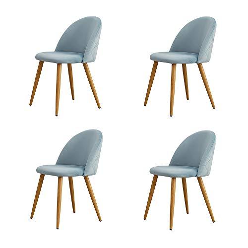 OFCASA Set de 4 Moderno Azúl claro Sillas de comedor Tela de terciopelo Sillas Cocina con patas de metal Asiento tapizado silla de salón Hogar Mueble