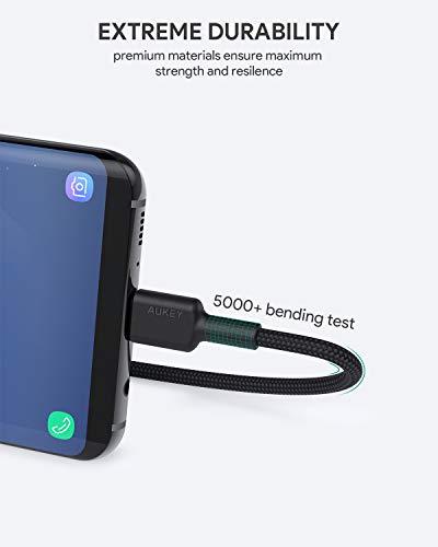 AUKEY USB C Kabel auf USB 2.0 A ( 2m x 3 Pack ) USB Datenkabel Ladekabel für Samsung Galaxy Note 9 8 S10 S10e Fold S9 S8, MacBook Pro 2016 Air, HUAWEI P30, Sony XZ, LG V20 G5 G6, HTC 10 Schwarz
