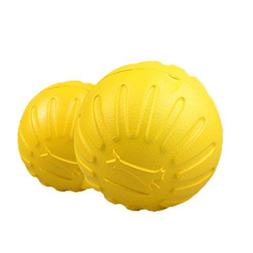 LeeIU Hundespielzeug Ball, Trainingsball Solide springenden Ball Für Hunde,Elastisches gelbes Gummiball Eva-Material,Beständigkeit gegen Biss,Schwimmendes Wasser,8cm